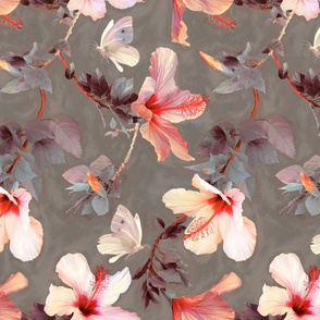 Butterflies and Hibiscus Flowers - warm coral & grey