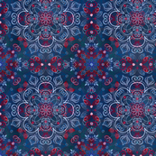 Watercolor Folk Art Pattern in Navy Blue & Red