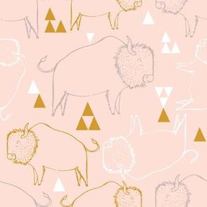 Native american buffalo pink and gold