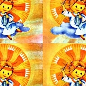 vintage retro kitsch sun rays sky clouds sewing Anthropomorphic