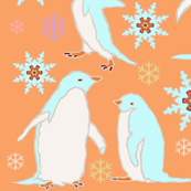 Penguin Play with Snowflakes