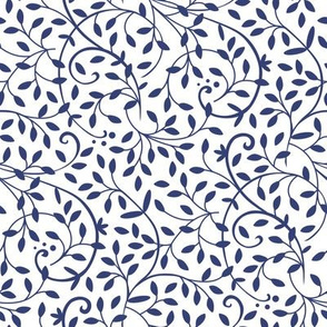 Curly Vine Navy White
