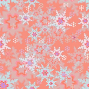 Snowflakes on Rosy Background