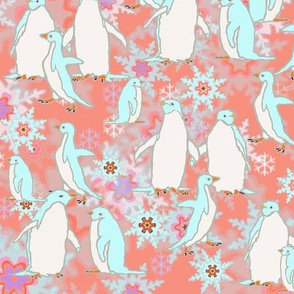 Penguin Play on Rosy Snowflake Pattern Background