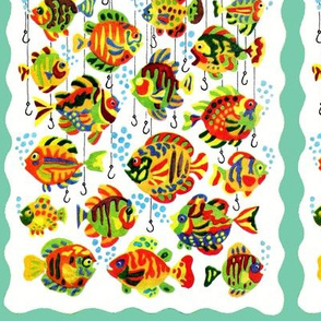 colorful rainbow multi colored fishes underwater hooks
