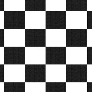 Black Burlap Textured and Flat White Checkerboard
