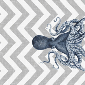 Blue Chevron Octopus for Tea Towels