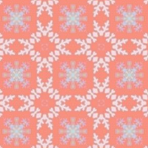 Snowflakes Rosy Background for Penguins