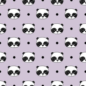 "Panda Polka Dots - Lavender (Small 1"" Faces) by Andrea Lauren"