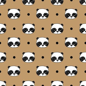 "Panda Polka Dots - Lion Brown (Small 1"" Faces) by Andrea Lauren"