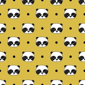 "Panda Polka Dots - Mustard (Small 1"" Faces) by Andrea Lauren"