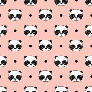 "Panda Polka Dots - Pale Pink (Small 1"" Faces) by Andrea Lauren"
