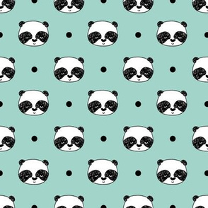 "Panda Polka Dots - Pale Turquoise (Small 1"" Faces) by Andrea Lauren"