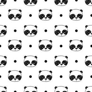 "Panda Polka Dot - White (Small 1"" Panda Face) by Andrea Lauren"