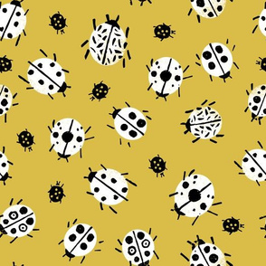 Ladybugs - Mustard Background by Andrea Lauren