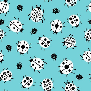Ladybugs - Aqua Background by Andrea Lauren