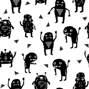 monsters // black and white kids room nursery funny quirky cute monsters for kids fabrics