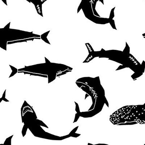 Sharks - Black and White by Andrea Lauren