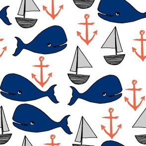 nautical whales // navy blue and orange kids fabric cute whales anchors sailboats andrea lauren fabric andrea lauren design