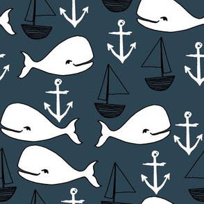 nautical whales // navy blue and white whale fabric anchors nursery baby cute sailboats nursery boy