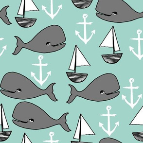 nautical whales // mint and grey nautical fabric cute sailboats anchors nursery baby cute