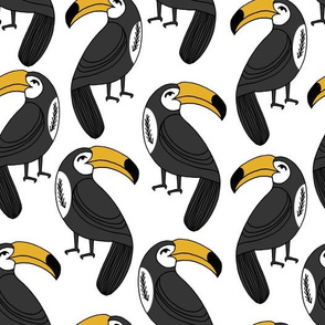 Toucans - Yellow on White by Andrea Lauren