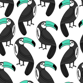 Toucans - Light Jade on White by Andrea Lauren