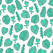 Tropical Leaves - Light Jade by Andrea Lauren