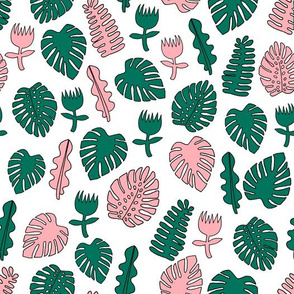 Tropical Leaves - Pink and Green by Andrea Lauren