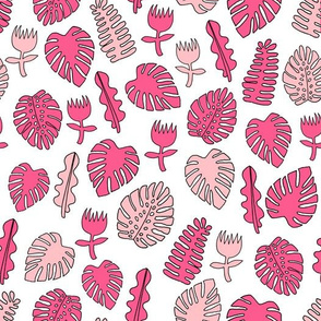 Tropical Leaves - Pink by Andrea Lauren