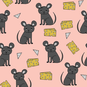 Mouse & Cheese - Pale Pink/Charcoal by Andrea Lauren