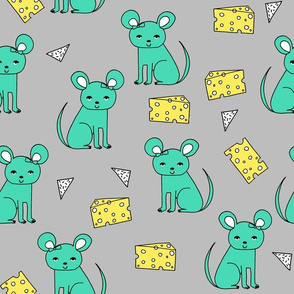 Mouse & Cheese - Light Jade/Maize Yellow by Andrea Lauren