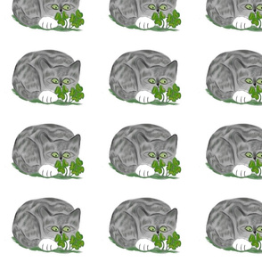 grey_tiger_Lucky_finds_a_Four_Leaf_Clover_-_Spoonflower