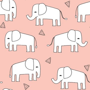 Elephant - Pale Pink/White by Andrea Lauren
