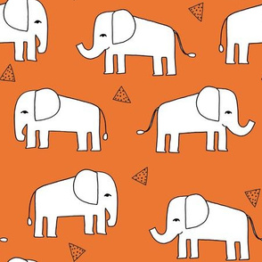 Elephant - Orange/White by Andrea Lauren