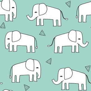 Elephant - Pale Turquoise/White by Andrea Lauren