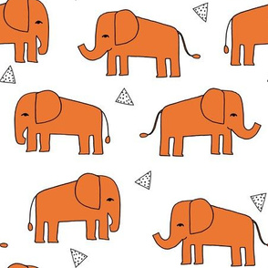 Elephants - Orange/White by Andrea Lauren