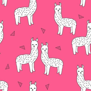 Alpaca - Bright Pink/White by Andrea Lauren (Llamas)