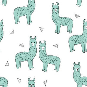 alpaca // mint green alpaca fabric cute mint llamas baby animals fabric best animal prints