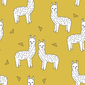 alpaca // mustard yellow alpaca fabric cute andrea lauren design llamas fabric nursery baby mustard yellow