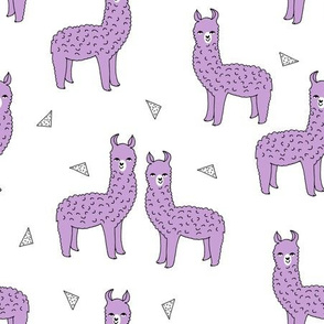 alpaca // purple lilac lavender llama fabric cute purple design nursery baby fabric print andrea lauren pattern andrea lauren fabric