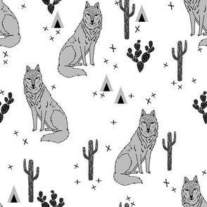 Desert Wolf - Greyscale Minimal Modern Monochrome by Andrea Lauren