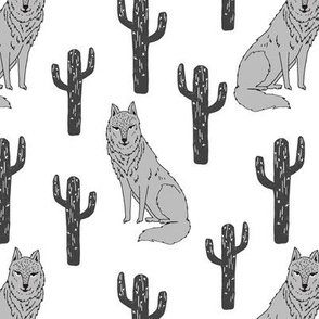 Wolf and Cactus - White background by Andrea Lauren