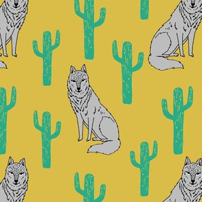 Wolf and Cactus - Mustard by Andrea Lauren