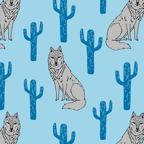 Wolf & Cactus - Blue by Andrea Lauren