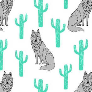 Wolf & Cactus - White background/Light Jade by Andrea Lauren