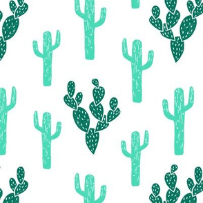 Cactus - Light Jade/Green/White Background by Andrea Lauren