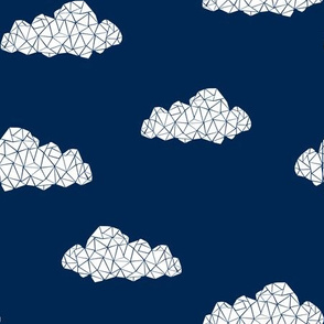Geo Clouds - Navy (Custom) by Andrea Lauren