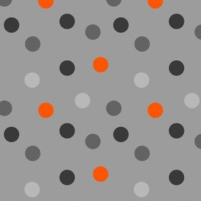 Scattered Dots - Greys & Orange by Andrea Lauren
