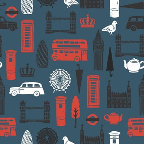 London Block Print - Navy/Black/White/Red by Andrea Lauren